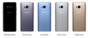 Samsung Galaxy S8 e S8 Plus Colori